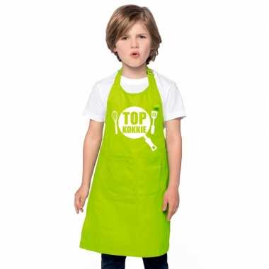 Top kokkie keukenschort lime groen kinderen