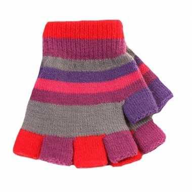 Vingerloze handschoenen met gekleurde streepjes voor meisjes