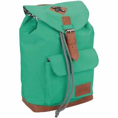 Vintage rugzak/rugtas mint groen 29 cm voor kinderen