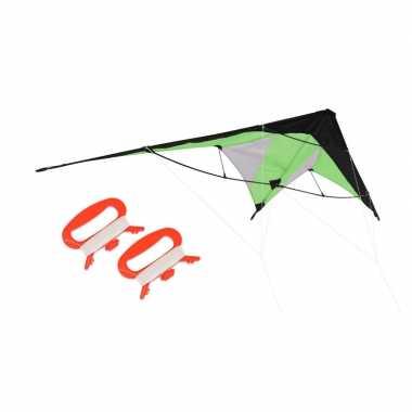 Vlieger groen 180 x 70 cm met meeneemtas