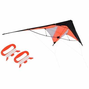 Vlieger oranje 180 x 70 cm met meeneemtas