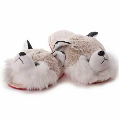 Witte/grijze husky hond instap pantoffels/sloffen voor kinderen