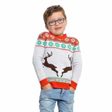 Witte kerst trui met rendieren voor kinderen