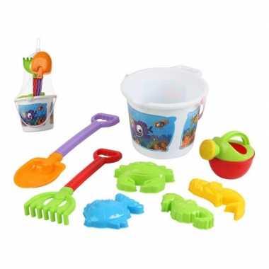 Witte vissen strandemmer/zandbak speelset voor kinderen