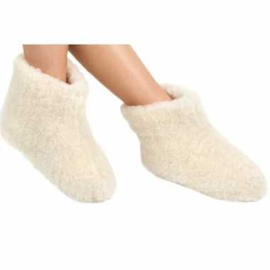 Witte wollen sloffen/pantoffels voor kinderen