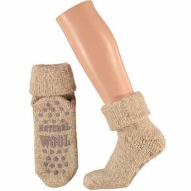Wollen huis sokken anti-slip voor kinderen beige maat 27-30