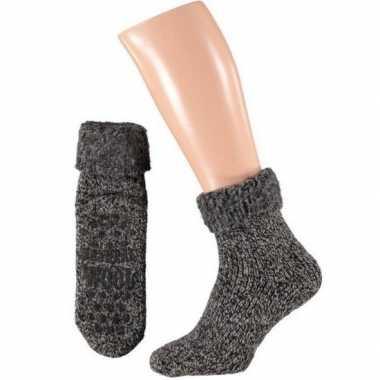 Wollen huis sokken anti-slip voor kinderen zwart maat 27-30