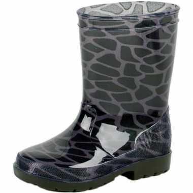Zwart/grijze kleuter/kinder regenlaarzen met giraffe vlekken