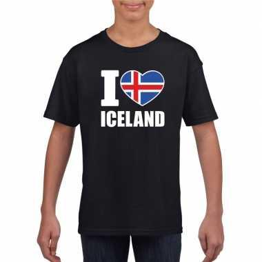 Zwart i love ijsland fan shirt kinderen