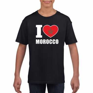 Zwart i love marokko fan shirt kinderen