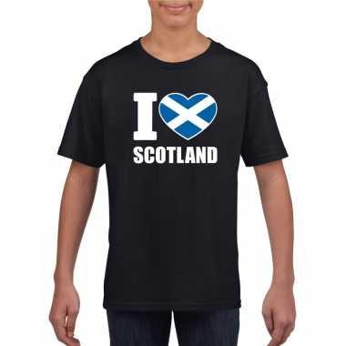 Zwart i love schotland fan shirt kinderen