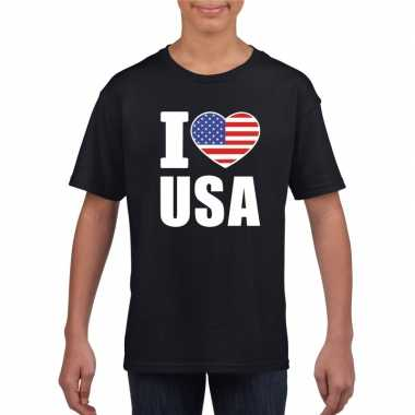 Zwart i love usa - amerika fan shirt kinderen