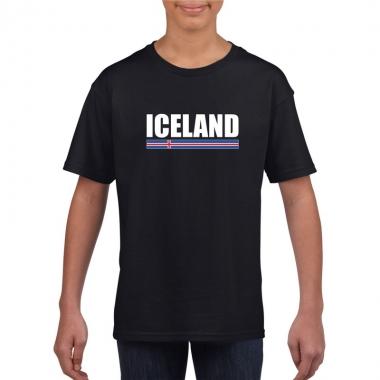 Zwart ijsland supporter t-shirt voor kinderen