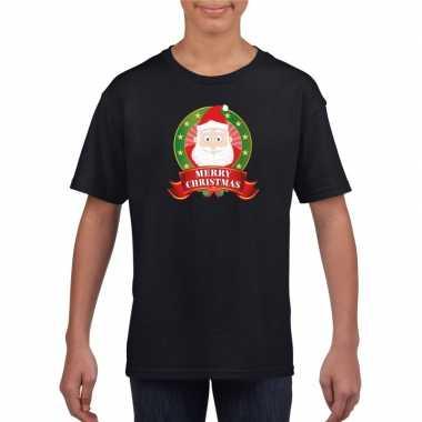 Zwart kerst t-shirt voor kinderen met kerstman print