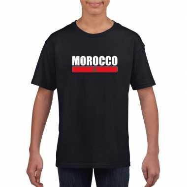 Zwart marokko supporter t-shirt voor kinderen