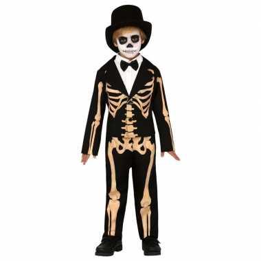 Zwart/oranje skelet verkleedkostuum voor kinderen skelettenpak