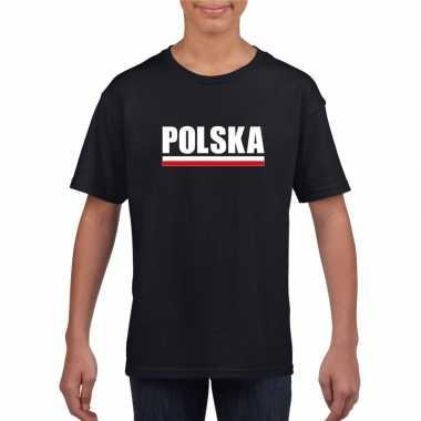Zwart polen supporter t-shirt voor kinderen