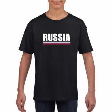 Zwart rusland supporter t-shirt voor kinderen