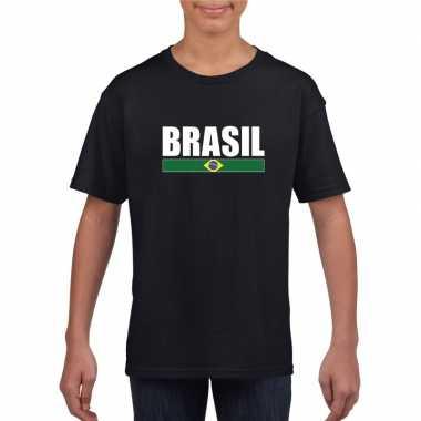 Zwart / wit brazilie supporter t-shirt voor kinderen