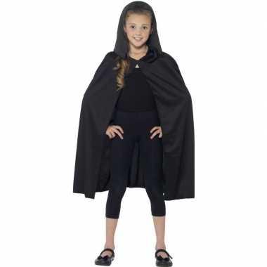 Zwarte cape met capuchon voor kinderen
