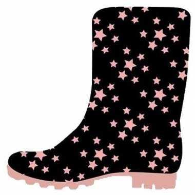 Zwarte kleuter/kinder regenlaarzen roze sterretjes print