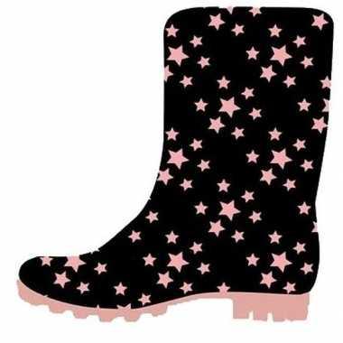 Zwarte peuter/kinder regenlaarzen roze sterretjes print