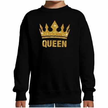 Zwarte queen gouden glitter kroon sweater kinderen