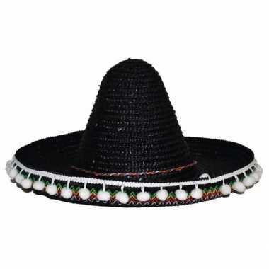Zwarte sombrero 25 cm voor kinderen