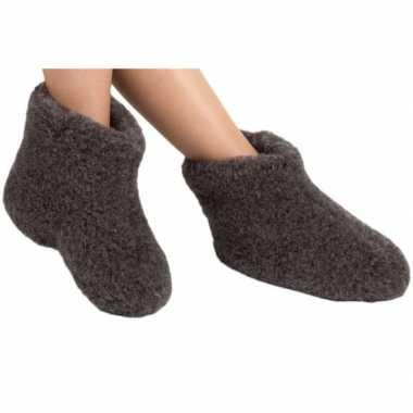 Zwarte wollen sloffen/pantoffels voor kinderen