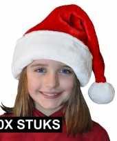 10x pluche luxe kerstmutsen rood wit voor kinderen