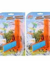 10x waterpistolen waterpistool oranje van 18 cm kinderspeelgoed