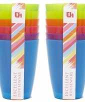 12x gekleurde drinkbekers mokken kunststof 10 cm voor kinderen