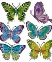 12x stuks decoratie vlinders stickers 12 cm
