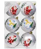 12x witte kerstballen 8 cm kunststof met print