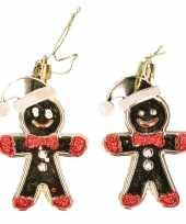 16x kerstboomhangers goudkleurige peperkoekmannen 9 cm kerstversiering