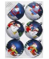 18x blauwe kerstballen 8 cm kunststof met print