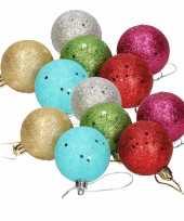 18x gekleurde glitter kerstballen van piepschuim 5 cm