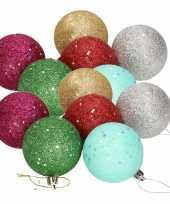 18x gekleurde glitter kerstballen van piepschuim 6 cm