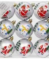 18x witte kerstballen 6 cm kunststof met print