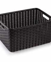 1x donker bruine geweven opbergboxen opbergmanden 18 liter kunststof