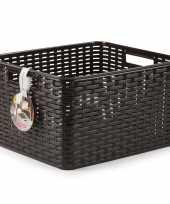 1x donker bruine geweven opbergboxen opbergmanden 28 5 liter kunststof