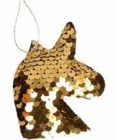1x kersthangers figuurtjes eenhoorn goud met pailletten 7 cm