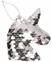 1x kersthangers figuurtjes eenhoorn zilver met pailletten 7 cm