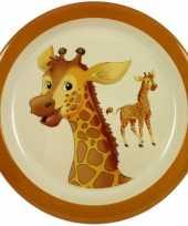 1x melamine borden giraffe wit bruin 21 5 cm voor kinderen
