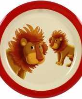 1x melamine borden leeuw wit rood 21 5 cm voor peuters kinderen