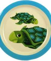 1x melamine borden schildpad wit blauw 21 5 cm voor kinderen