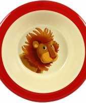 1x melamine kommen leeuw wit rood 16 5 cm voor kinderen