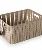 1x taupe geweven opbergboxen opbergmanden 18 liter kunststof