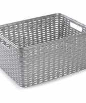 1x zilveren geweven opbergboxen opbergmanden 18 liter kunststof