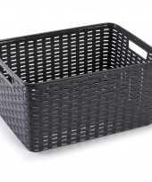 1x zwarte geweven opbergboxen opbergmanden 18 liter kunststof